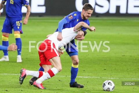 28.03.2021 WARSZAWA ( POLAND ) <br /> PILKA NOZNA - ELIMINACJE DO MISTRZOSTW SWIATA 2022<br /> FOOTBALL FIFA WORLD CUP 2022 QUALIFYING ROUND <br /> MECZ POLSKA ( POLAND ) - ANDORA ( ANDORA ) <br /> N/Z ROBERT LEWANDOWSKI MARC REBES FAUL <br />