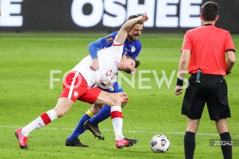 28.03.2021 WARSZAWA ( POLAND ) <br />PILKA NOZNA - ELIMINACJE DO MISTRZOSTW SWIATA 2022<br />FOOTBALL FIFA WORLD CUP 2022 QUALIFYING ROUND <br />MECZ POLSKA ( POLAND ) - ANDORA ( ANDORA ) <br />N/Z ROBERT LEWANDOWSKI MARC REBES FAUL <br />