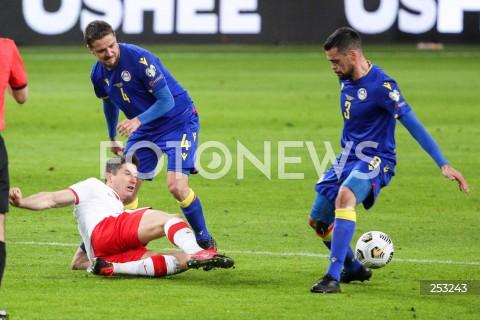 28.03.2021 WARSZAWA ( POLAND ) <br />PILKA NOZNA - ELIMINACJE DO MISTRZOSTW SWIATA 2022<br />FOOTBALL FIFA WORLD CUP 2022 QUALIFYING ROUND <br />MECZ POLSKA ( POLAND ) - ANDORA ( ANDORA ) <br />N/Z ROBERT LEWANDOWSKI MARC REBES MARC VALES <br />