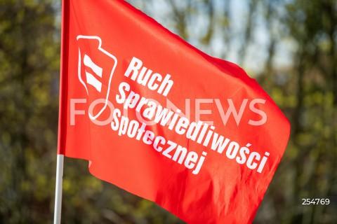 01.05.2021 GDANSK<br />KONFERENCJA LEWICY W GDANSKU<br />N/Z FLAGA RUCH SPRAWIEDLIWOSCI SPOLECZNEJ NAPIS <br />