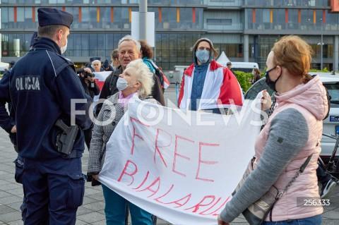 26.05.2021 GDANSK<br />PROTEST WOLNA BIALORUS PRZED STADIONEM W GDANSKU<br />N/Z PROTESTUJACY POLICJA<br />