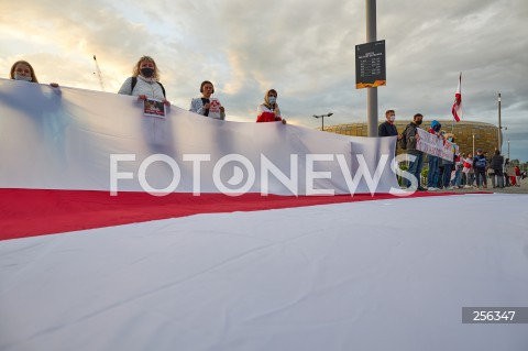 26.05.2021 GDANSK<br />PROTEST WOLNA BIALORUS PRZED STADIONEM W GDANSKU<br />N/Z PROTESTUJACY<br />