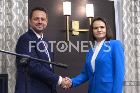 Spotkanie Rafała Trzaskowskiego z Swiatłaną Cichanouską w Warszawie
