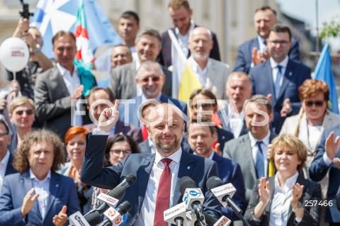 Konferencja kandydata na urząd prezydenta Rzeszowa Konrada Fijołka z udziałem samorządowców z całej Polski w Rzeszowie