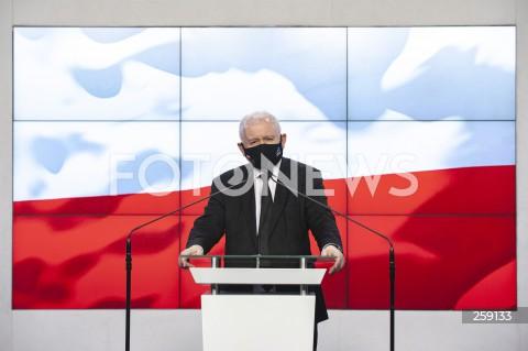 Oświadczenie prezesa PiS Jarosława Kaczyńskiego w Warszawie
