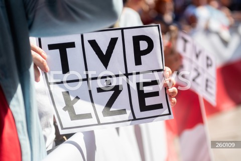 19.07.2021 GDANSK<br />WIEC DONALDA TUSKA W GDANSKU<br />N/Z LOGO TVP LZE TRANSPARENT TVPLZE TABLICZKA<br />