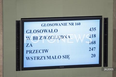06.09.2021 WARSZAWA SEJM <br />36. POSIEDZENIE SEJMU RP<br />GLOSOWANIE W SPRAWIE WPROWADZENIA STANU WYJATKOWEGO<br />N/Z WYNIK GLOSOWANIA TABLICA<br />